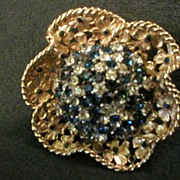 """Boucher """"Flowers within Flower"""" Gold/Silver-Tone Brooch w/Blue and Clear Rhinestones"""