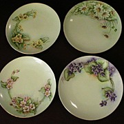 """Set of 4 - Hand Painted Floral Selb Bavaria 6"""" Plates"""