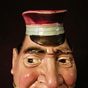 """Sarreguemines Majolica """"The Black Bill"""" Face Jug"""