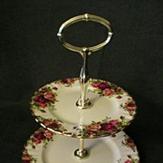 "SOLD Royal Albert Bone China ""Old Country Roses"" 2-Tiered Serving Tray"