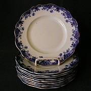 "SOLD Set of 10 - John Maddock & Sons Flow Blue ""Linda"" Pattern Salad/Dessert Plates"