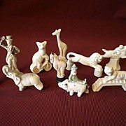 "10 Piece Bisque ""Circus Animals & People"" Figures - Made in Japan"