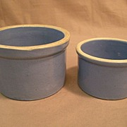 Pair of Blue Stoneware Butter Crocks - One & Two Pound Size