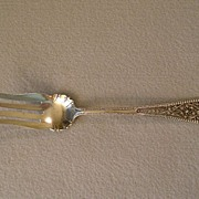 "Watson & Newell Co Sterling Silver ""Filigree Handle"" Cold Meat Fork"