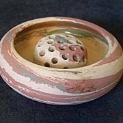 "Silver Springs, Fla - ""Mission Swirl"" Pottery Bowl w/Flower Frog"