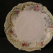 Laviloette Limoges China H.P. Charger Plate w/Apple Blossom & Gold Decoration