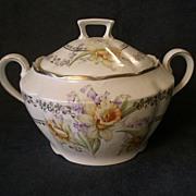 German China Cracker/Biscuit Jar w/Spring Floral & Fern Decoration