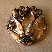 Hobe Sterling Floral Brooch w/Open Roses, Buds and Leaves