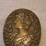 "SALE ""Josephine Bonaparte"" Relief Profile Image in Early Cast Bronze Belt Buckle"
