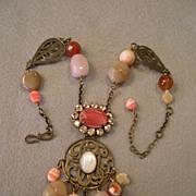 """Philippe Ferrandis"" Bronze-Tone Metal, Rhinestones, Beads, & Polished Stones Neckla"