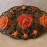 Vintage Brass Filigree Brooch w/Coral Celluloid Roses & Cabochons