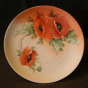 Home Studio Hand-Painted Cabinet Plate w/California Poppy Decoration