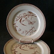 """Set of 2 - T & R Boote Aesthetic Movement Brown Transfer-ware """"Summer Time"""" Patt"""