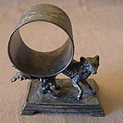 Victorian Silver Plated Figural Napkin Ring w/Fox & Shrubbery