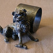 Victorian Silver Plated Figural Napkin Ring w/Shaggy Dog Holding a Bone