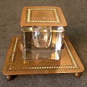Bradley & Hubbard Art Deco Brass & Enameled Desk Inkwell