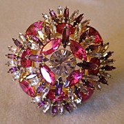 """Original by Robert"" Square Dome-Shaped Brooch Ablaze With Fuchsia, Purple & Clear Rhinestones"