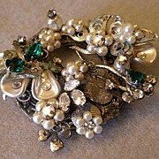 "SOLD ""Original by Robert"" Wreath-Shaped Brooch w/faux Pearls, Clear & Emerald Rhines"