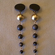 "Stephen Dweck"" Black & Gold Beaded Strand Run-Way Clip Earrings"