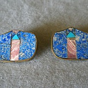 "SALE ""Karen Sebiri"" Vintage Blue & Pink Agate w/Turquoise Inlaid Clip Earrings"
