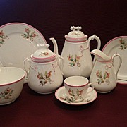 "1880's Unmarked Porcelain ""Moss Rose"" 24-Piece Luncheon/Dessert Set"