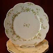 """Set of 3 Haviland & Co. Limoges """"Green & Pink Floral"""" Dinner Plates - Schleiger #74A"""