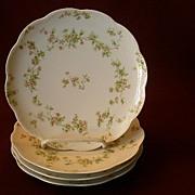 """Set of 4 Haviland & Co. Limoges """"Green & Pink Floral"""" Coup Salad Plates - Schleiger"""