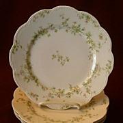 "Set of 4 Haviland & Co. Limoges ""Green & Pink Floral"" Luncheon Plates - Schleiger #7"
