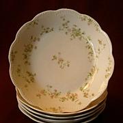 """Set of 5 Haviland & Co. Limoges """"Green & Pink Floral"""" Soups Bowls -  Schleiger #74A"""