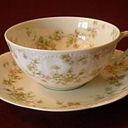 """Set of 4 Haviland & Co. Limoges """"Green & Pink Floral"""" Larger Size Cups & Saucers - S"""