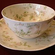 "Set of 5 Haviland & Co. Limoges ""Green & Pink Floral"" Smaller Size Cups & Saucers -"