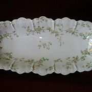 """Haviland & Co. """"Green & Pink Floral"""" Celery Tray - Schleiger #74A"""