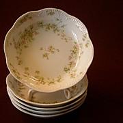 """Set of 5 Haviland & Co.Limoges """"Green & Pink Floral"""" Sauce Dishes -  Schleiger #74A"""