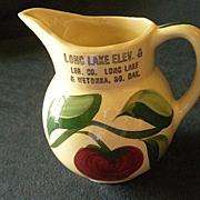 """Watt Pottery """"#62 Apple - 3 Leaf"""" Pattern Pitcher w/Long Lake & Wetokka S.D. Adverti"""