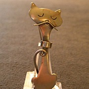 "ORB Sterling Silver ""Modern Abstract Cat"" Figural Brooch"