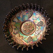 "SOLD Fenton Blue Carnival ""Vintage"" Bowl w/Candy Ribbon Edge"