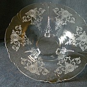 """Heisey Glass """"Old Colony"""" Floral Bowl on Dolphin Feet - Queen Ann Blank"""