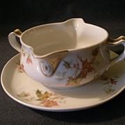 "SOLD Charles Haviland & Co. Limoges - ""Jewel Tea - Autumn Leaf"" Gravy Boat w/Attache"