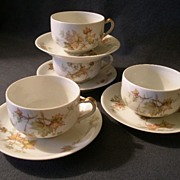 "Set of 4 Charles Haviland & Co. Limoges - ""Jewel Tea - Autumn Leaf"" Cup & Saucer Set"
