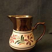 Wade Heath & Co. Copper Lustre MIlk PItcher w/Enameled Decoration