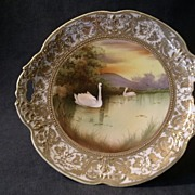 Nippon Hand-Painted Scenic Plate w/Lake and Swans