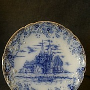 Warwick China Blue Transfer-Ware Plate with Scenic European Castle