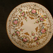 Nippon Hand-Painted Rose Floral Cabinet Plate w/Encrusted Gold Decoration