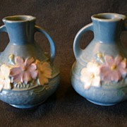 """Roseville Pottery """"Cosmos"""" Vase in Blue #944-4"""