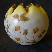 Yellow Satin Glass Rose Bowl w/Hand-Painted Dogwood Floral Decoration