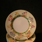 "SOLD Josiah Wedgwood & Sons ""Prairie Flowers"" Pattern Bread & Butter Plates - Set of"