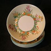 "Josiah Wedgwood & Sons ""Prairie Flowers"" Pattern Fruit Dishes - Set of 4"