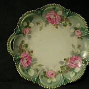 SALE R.S. Prussia Serving Plate With Vivid Pink Roses Decor