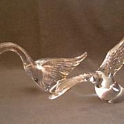 Pair of Heisey Crystal Geese Figures w/ Wings Half & Wings Up