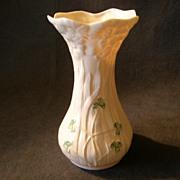 """Irish Belleek porcelain """"Shamrock"""" Pattern Vase"""